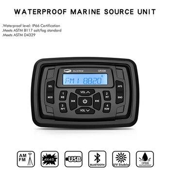 Marine Stereo Bluetooth Radio samochodowe wodoodporny odbiornik FM AM nagłośnienie łodzi odtwarzacz MP3 dla RV ATV UTV SPA Yacht Motorcycle