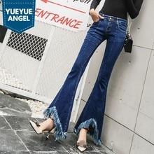 Personality Tassel Flare Jeans Women Autumn Winter Slim Vintage Bell-Bottomed Pants Casual Blue Zipper Office Denim Trousers
