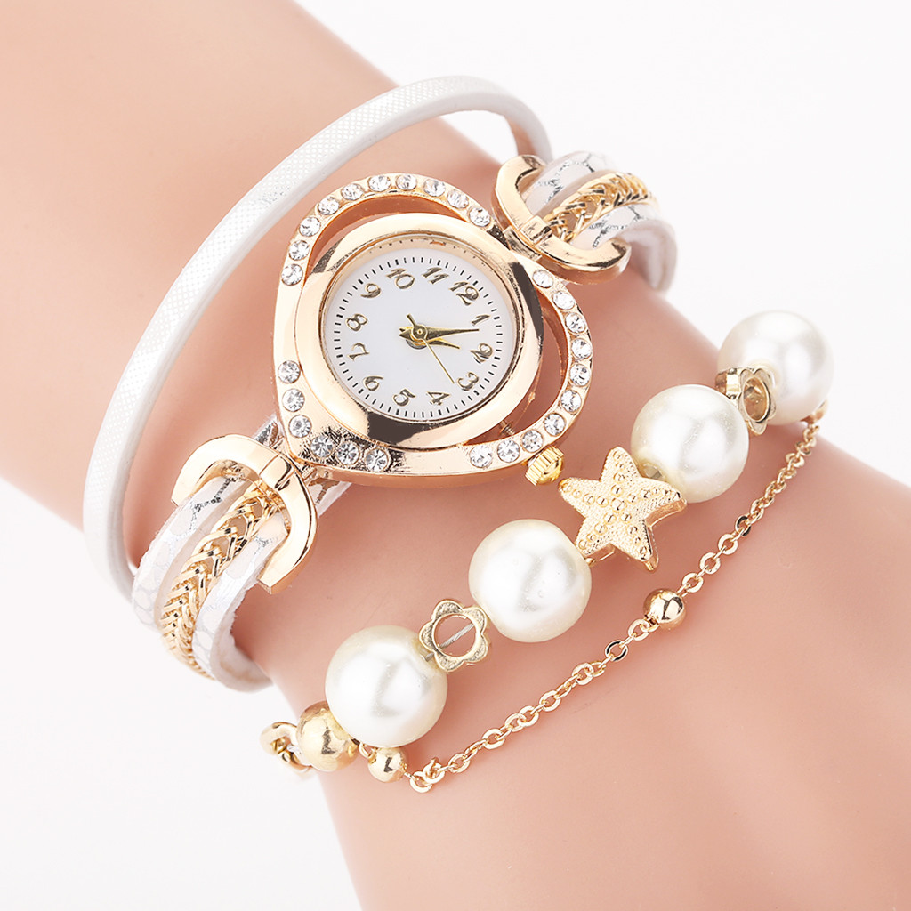 Women Watch New CCQ Vintage Shining Pearl Bracelet Dial Analog Quartz Wrist Watch Relogio Feminino Reloj Mujer Montre Femme 2019