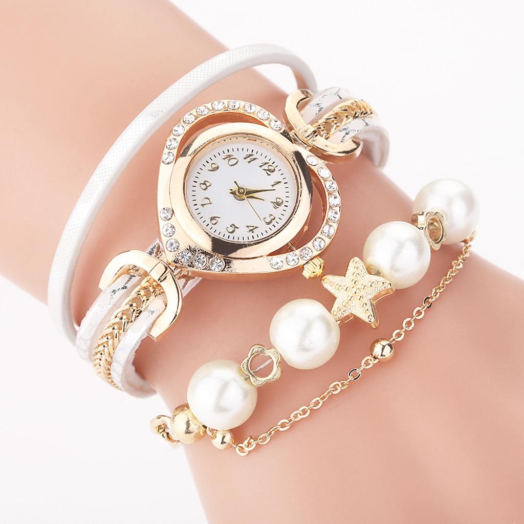 Women Watch New CCQ Vintage Shining Pearl Bracelet Dial Analog Quartz Wrist Watch Relogio Feminino Reloj Mujer Montre Femme 2019