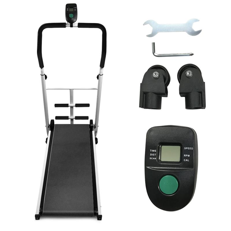 Folding Mechanical Fitness Treadmill With Sit-up Bar Display Time Speed Distance Multi-function Fitness Gym Equipment HWC