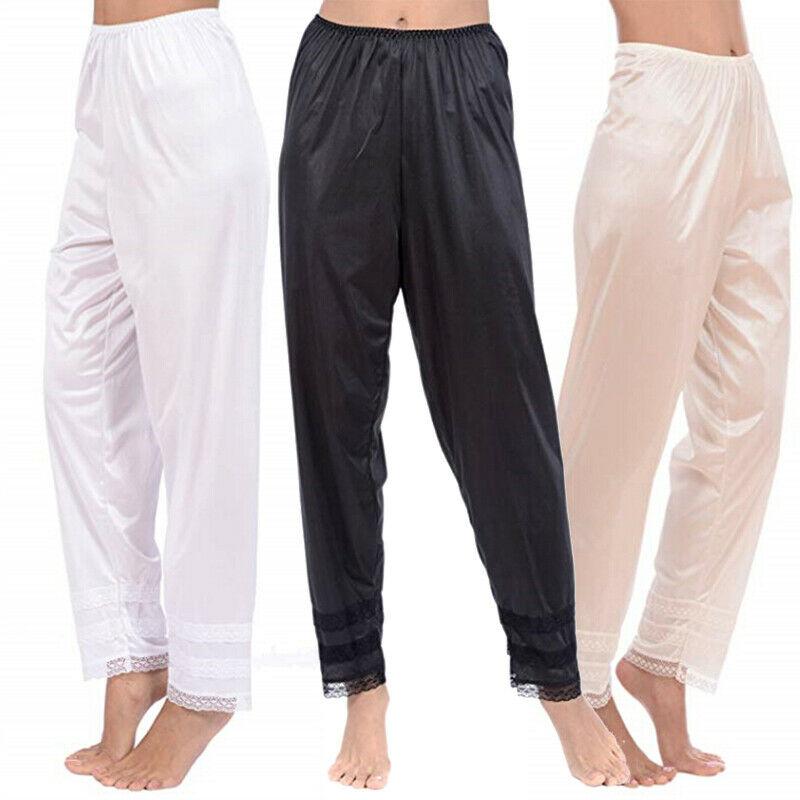 3 Colors Women's Soft Slip Liner Pajamas Sleepwear Night Bottoms Lounge Pants Plus Size M-2XL