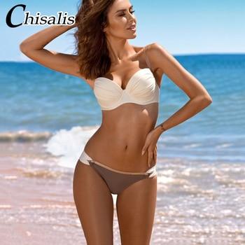 Chisalis New Sexy Swimsuit Women Bikini 2019 Solid Push Up Swimwear Women Brazilian Bikini Set Beach Bathing Suit biquini XXL