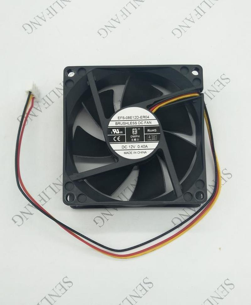 For DWPH EFS-08E12D-ER04 DC 12V 0.4A 80x80x25mm 3-wire Server Cooler Fan