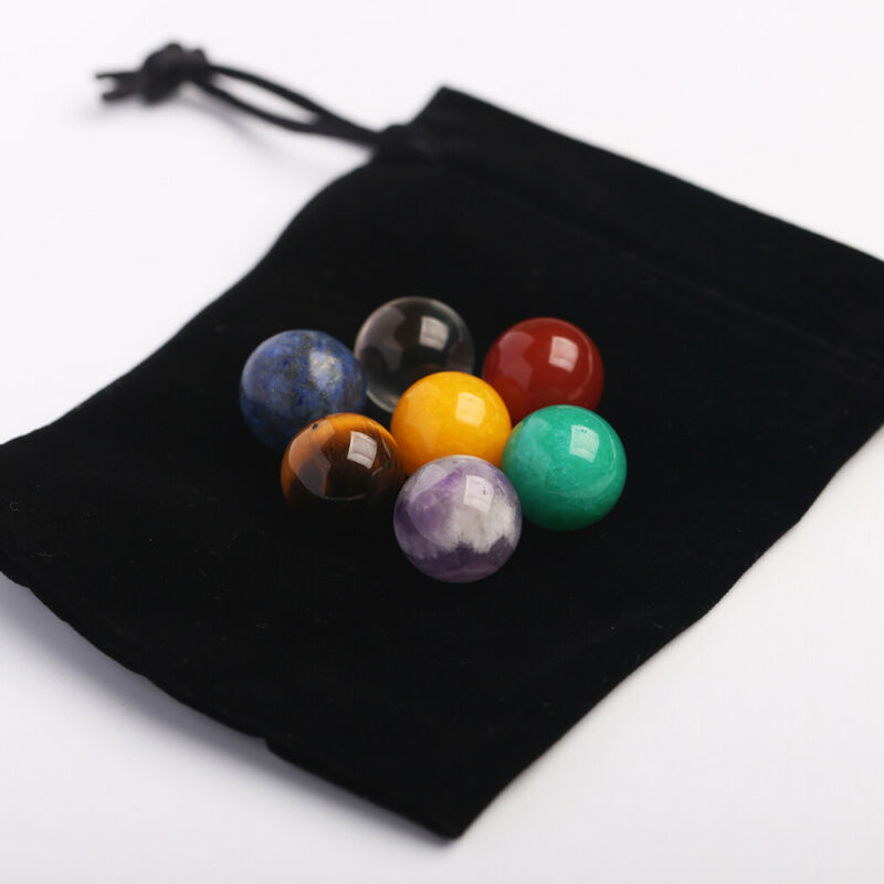 7Pcs Natural Chakra Tumbled Stone Healing Gemstone Rock Mineral Crystal Bead 16mm Home Decoration Ball