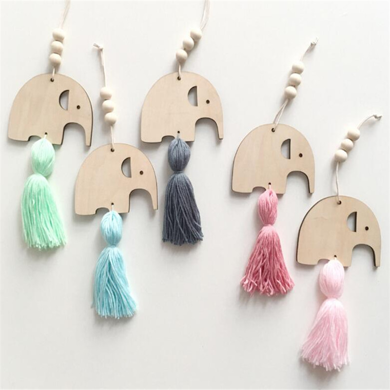 Nordic Style Cute Elephant Shape Wooden Beads Tassel Pendant Kids Room Decoration Wall Hanging Ornament Photography Accessories