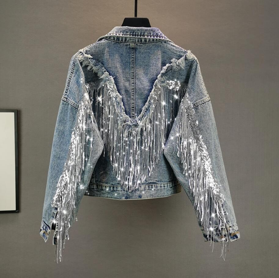 Short Denim Jacket Women 2020 Spring Autumn Fashion Fringed Sequined Denim Jackets Loose Jeans Coat Outwear R2460