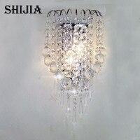 Modern LED Crystal K9 E14 Silver Wall Light Round Bedside 220V Wall Sconce Wall Lamp Home Lighting Living Room