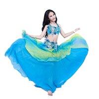 Children Belly Dance Costume Set 3pcs Bra Skirt Belt Stage Performance Clothes Dancer Competition Suit Bellydance Training Wear