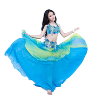 Children Belly Dance Costume Set 3pcs Bra Skirt Belt Stage Performance Clothes Dancer Competition Suit Bellydance Training Wear