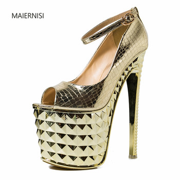 ladies shoes New pattern Superior quality Sandals Net red shoes 19CM Coarse heel Sexy Fashion Show Nightclub 4-7 8 MAIERNISI
