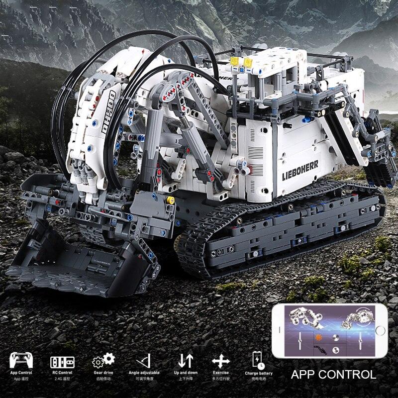 Compatible With Legoed Technic Series 42100 Bricks Liebherrs Excavator R9800 Motor Power Car Model Kit Building Blocks TOYS Gift