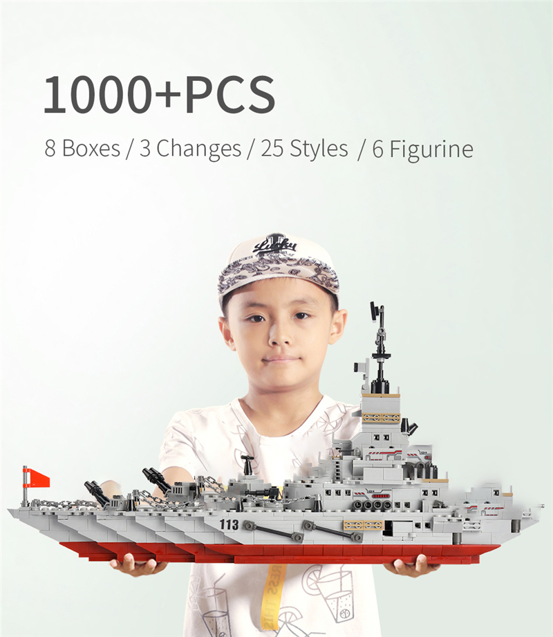 1000+ PCS Military Warship Navy Aircraft Army Figures Building Blocks LegoINGlys Army Warship Construction Bricks Children Toys (1)