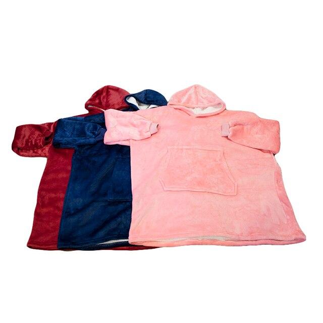Winter Oversized Hoodies Women Fleece Warm TV Blanket with Sleeves Pocket Flannel Plush Thick Sherpa Giant Hoody Long Sweatshirt 4