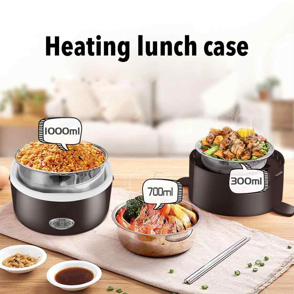 Podgrzewane pudełko na lunch Mini elektryczne urządzenie do gotowania ryżu ze stali nierdzewnej 2/3 warstw parowiec przenośny posiłek ogrzewanie termiczne pojemnik na jedzenie