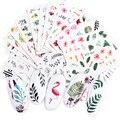 Наклейки для ногтевого дизайна, 29 шт., Набор наклеек для ногтей, черный лист, Цветочный Фламинго, Водные Наклейки, маникюрные украшения для н...