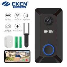 EKEN V6 inteligentne WiFi dzwonek z kamerą wideo IP dzwonek do drzwi sieci bezprzewodowej w domu domofon wizyjny kontrola aplikacji kamera ochrony