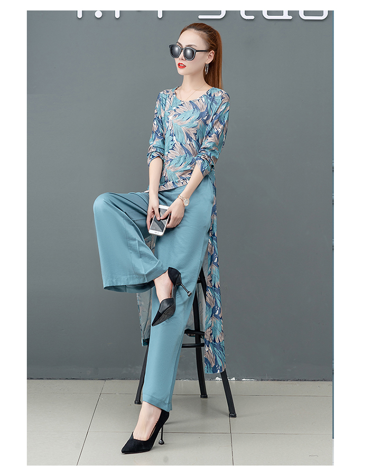 Printed Two Piece Sets Outfits Women Plus Size Splicing Long Tops And Wide Leg Pants Suits Elegant Office Fashion Korean Sets 51