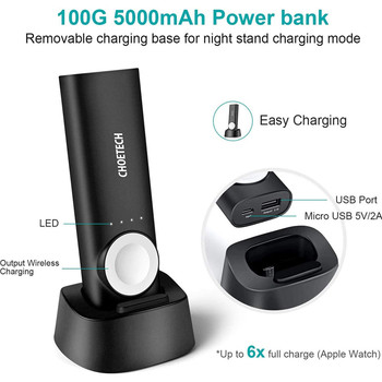 CHOETECH 5000mAh Power Bank Magnetic Portable Charger with USB Charging
