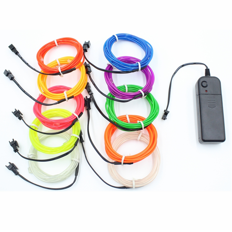 5M <font><b>EL</b></font> Wire Led Night Lighting Neon Wire Flexible Rope For Party <font><b>Car</b></font> Decoration <font><b>EL</b></font> Tape Led Wireless Light Switch With <font><b>Controller</b></font> image
