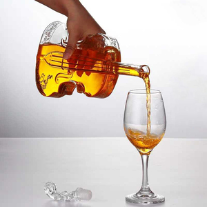 Image 3 - Blown Glass Wine Decanter for Whiskey High grade Creative Vodka Bottle Violin Decorative Wine Set 1000ML