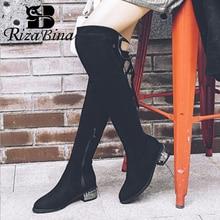 Rizabina サイズ 32 48 女性のオーバー膝ブーツファッションストレッチブーツジッパーレース毛皮の冬の靴女性毎日オフィス履物