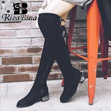 Rizabina Size 32 48 Vrouwen Over De Knie Laarzen Mode Stretch Boot Rits Lace Up Warm Bont Winter Schoenen Vrouwen dagelijks Kantoor Schoeisel