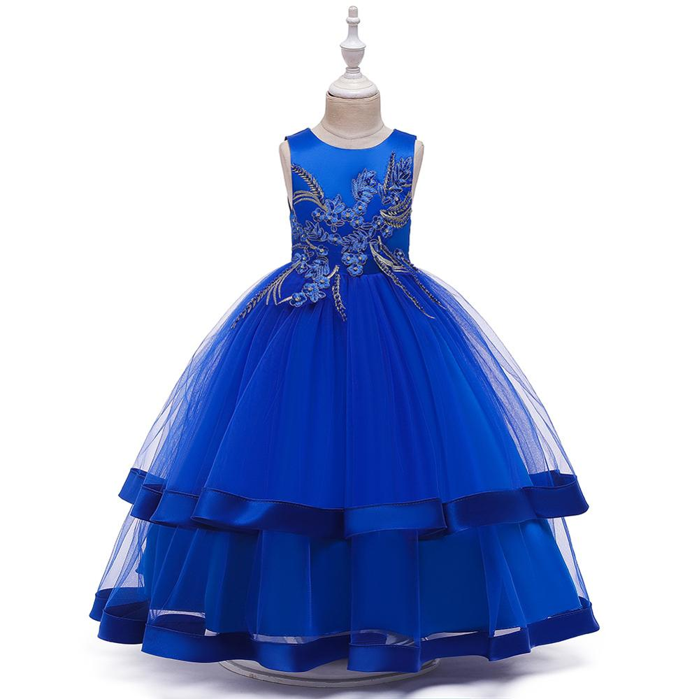 Flower Girl Dresses For Girls Blue Pink White Yellow Elegant Kid Party Gowns Comunion Pageant Dress  Ball Gown  Bow Back
