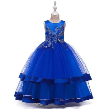 2016 new bling sequin hot pink flower girl dresses with bow baby birthday glitz party dress beauty pageant dresses ball gowns Flower Girl Dresses For Girls Blue Pink White Yellow Elegant Kid Party Gowns Comunion Pageant Dress  Ball Gown  Bow Back