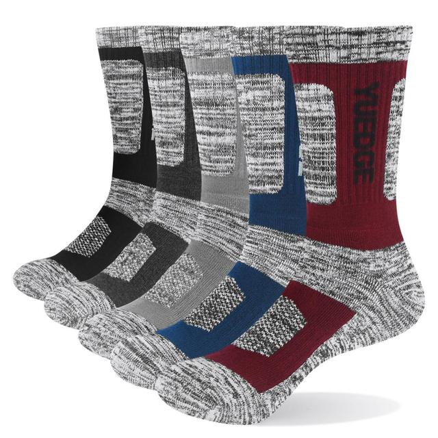 YUEDGE Brand Mens Socks Cushion Cotton Crew Outdoor Sports Walking Hiking Socks Thick Winter Warm For Men 5 Pairs
