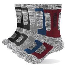Yuedge marca meias masculinas almofada algodão tripulação esportes ao ar livre caminhadas meias grossas inverno quente para homens 5 pares