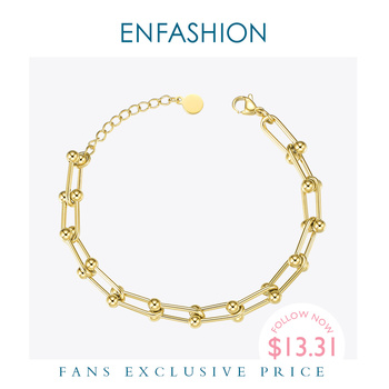 цена на ENFASHION Hollow Link Chain Bracelets For Women Stainless Steel Gold Color Bead Adjustable Bracelet Fashion Jewelry Gifts B2082