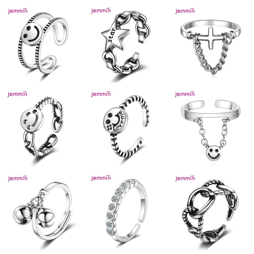Lovely Smiling Face Thai Silver Ring 925 Sterling Silver Twist Open Finger Bijoux Minimalist Accessories Punk Gift