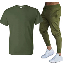 Лето мода повседневная мужская% 27 трек костюм пляж спортивная одежда спортивная одежда с короткими рукавами футболка 2 предмета комплект +% 2B длинные брюки большие размер