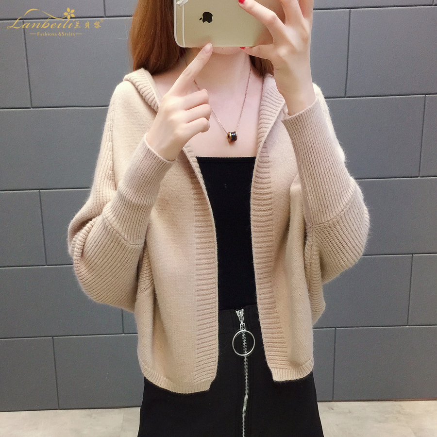 2019 Free send New style Korean loose and comfortable Autumn women Cardigan Sleeve of bat Hooded Sweater coat 99