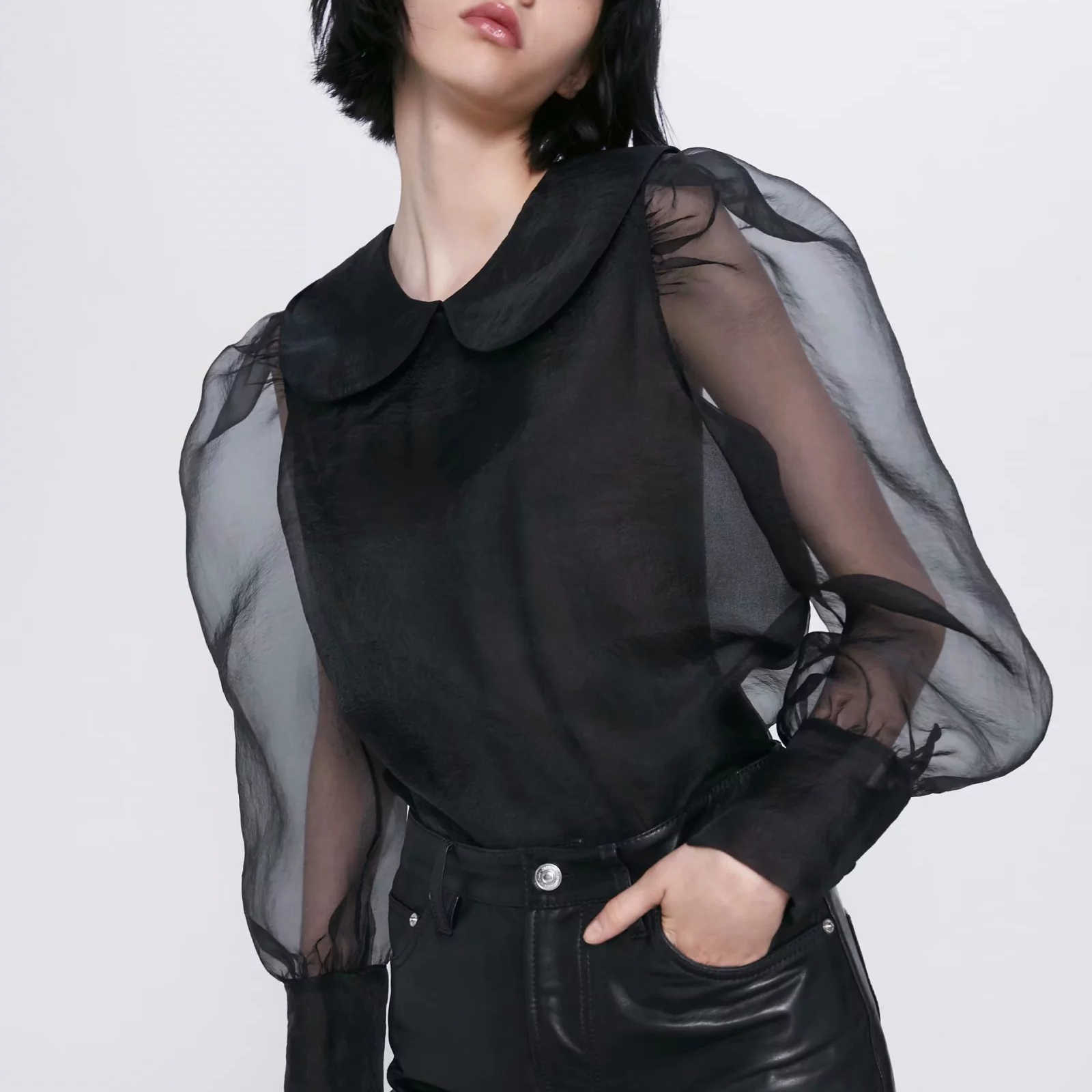 ZA blouse shirt women top black chiffon see-through puff sleeves Casual sexy chic lady blouse female woman clothes