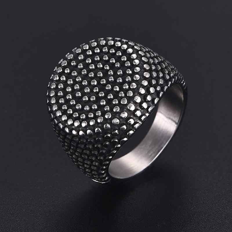 Jiayiqi VINTAGE สีดำแหวนผู้ชายเรขาคณิตวงกลมโลหะแบนหยดรูปร่างสแตนเลสสตีลแหวนแต่งงานแหวนเครื่องประดับชาย
