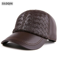SILOQIN Genuine Leather Hat Snapback Man Woman Autumn Winter New Baseball Cap Adjustable First Layer Sheepskin Caps Couple Hats