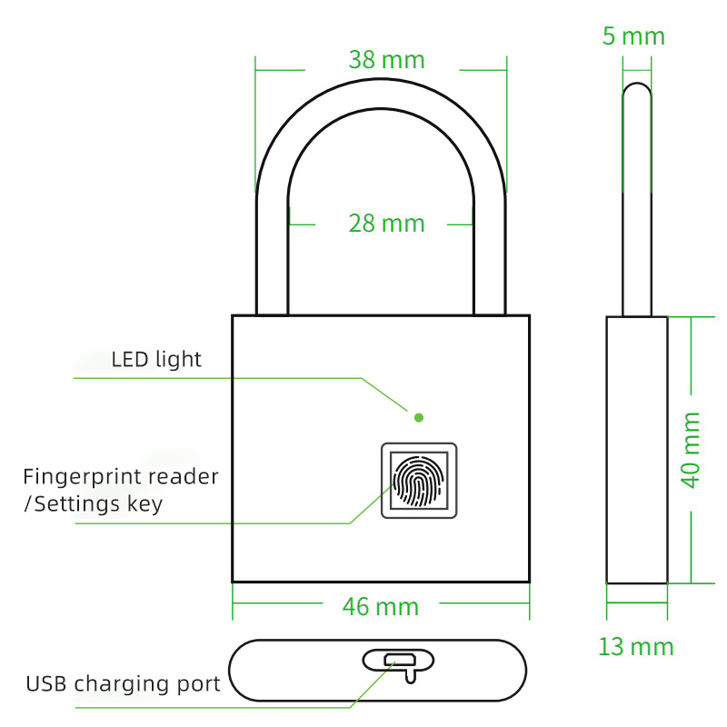 Image 5 - Thumbprint Door Padlocks Rechargeable Door Lock Fingerprint Smart Padlock Quick Unlock Keyless USB-in Electric Lock from Security & Protection