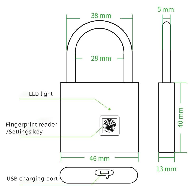 Thumbprint Door Padlocks Rechargeable Door Lock Fingerprint Smart Padlock Quick Unlock Keyless USB Thumbprint Door Padlocks Rechargeable Door Lock Fingerprint Smart Padlock Quick Unlock Keyless USB