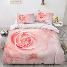 Bedding Sets 3D Plant Flower Rose Duvet Quilt Cover Set Comforter Bed Linens Pillowcase King Queen