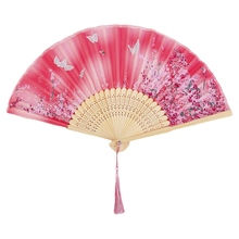 Chinese Style Bamboo Folding Hand Held Blossom Fan Summer Japanese Silk Fan Chinese Dance Party Wedding Colorful Decoration silk traditional bamboo fan with painting ancient chinese golden