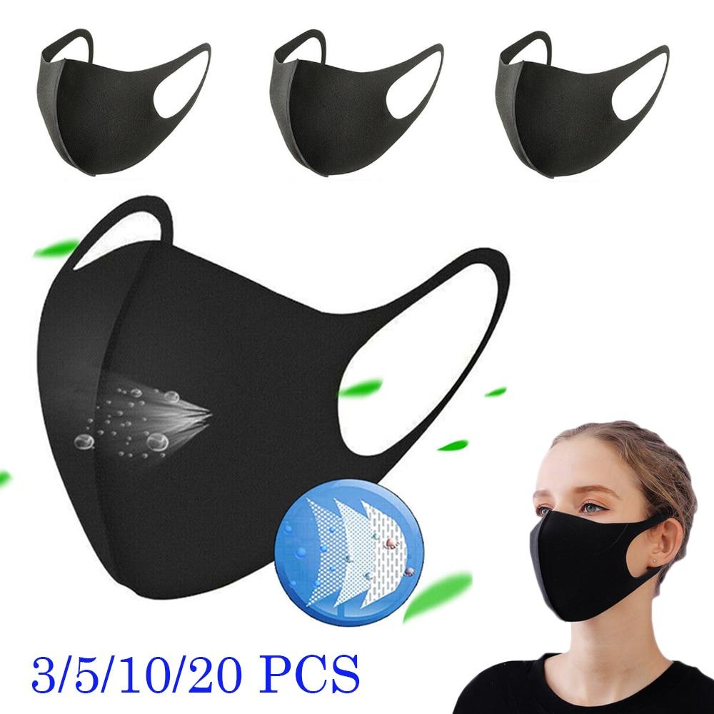 3Pcs Women Black Mask Washable Earloop Reusable Mask Unisex Mask Breathable Anti-dust Haze Face Mouth Mask Dustproof Protective