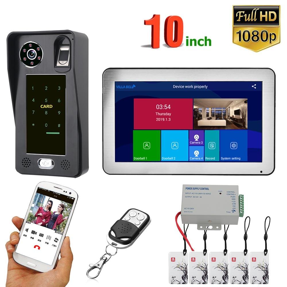 10 inç kayıt Wifi kablosuz görüntülü kapı telefonu kapı zili interkom sistemi ile kablolu parmak İzi RFIC 1080P kamera