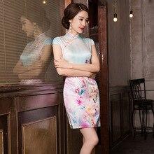 2019 セールショート vestido デ · デビュタント夏の新ファッションプリントシルクチャイナスカートクラシック分割スリムドレスヘア代替