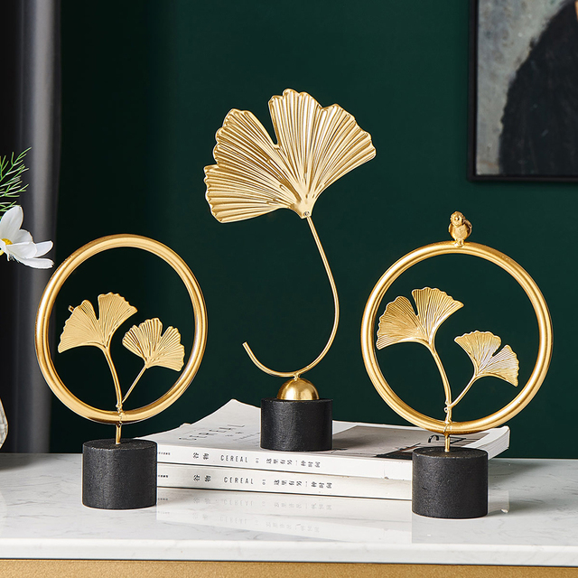 Home Office Decor Accessories Gifts Nordic Creative Metal Handmade Ginkgo Biloba Figurines Wrought Iron Flower Plant Ornament 5