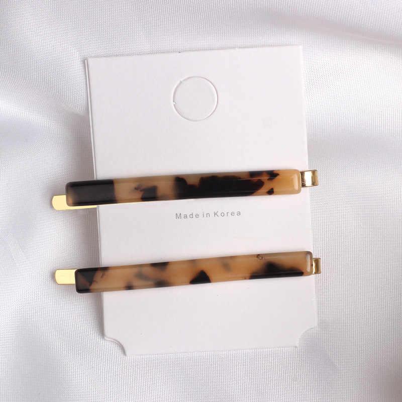 2 pièces/ensemble mode femmes acétate métal épingle à cheveux pince léopard pince à cheveux géométrique épingles à cheveux poignées cheveux accessoires