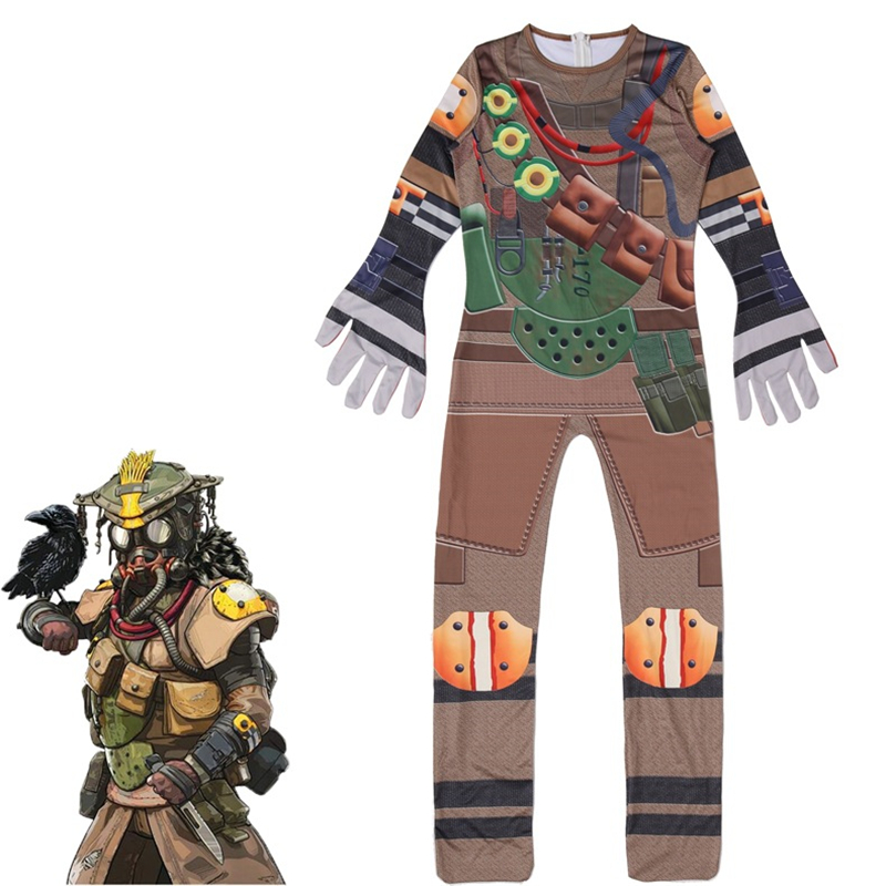 Game Apex Legends Bloodhound Cosplay Costumes Kids Child Jumpsuits Bodysuit Cotton Zentai Pajamas Halloween Party Christmas Suit