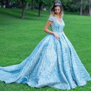 Image 2 - Klar Wasser Blau Hohe Kragen Abendkleider 2020 Kurzarm Spitze Pailletten Brautkleider Design Real Photo HM66981