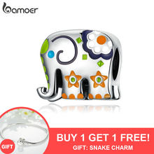 bamoer Thailand Elephant Silver Charm for Women Jewelry Making Colorful Enamel Animal Guardian Beads fit Charms Bracelets BSC095(China)